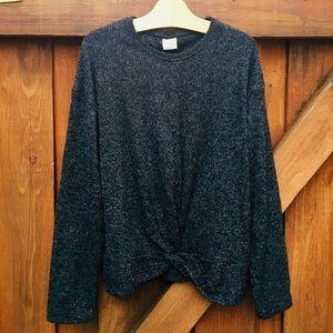Zara girl's charcoal sweater with a twist